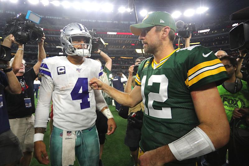 Is Dak Prescott's breakout on a disappointing Cowboys team worth slotting him ahead of Aaron Rodgers? (Richard Rodriguez/Getty Images)