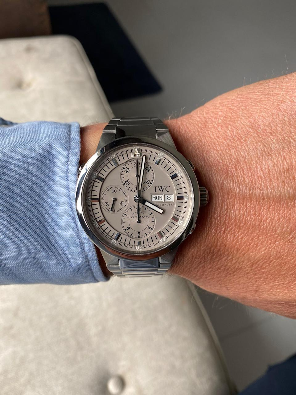"""<div class=""""caption""""> The IWC GST Chronograph Rattrapante—the first big watch purchase Brady made. </div>"""
