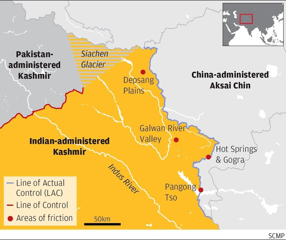 Hot spots in the conflict over the Western border of India and China