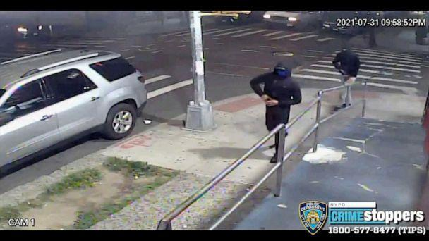 PHOTO: Surveillance video released by the New York Police Department shows suspects wanted in a series of recent shootings, July 31, 2021, in Queens, New York. (New York Police Department via Twitter)