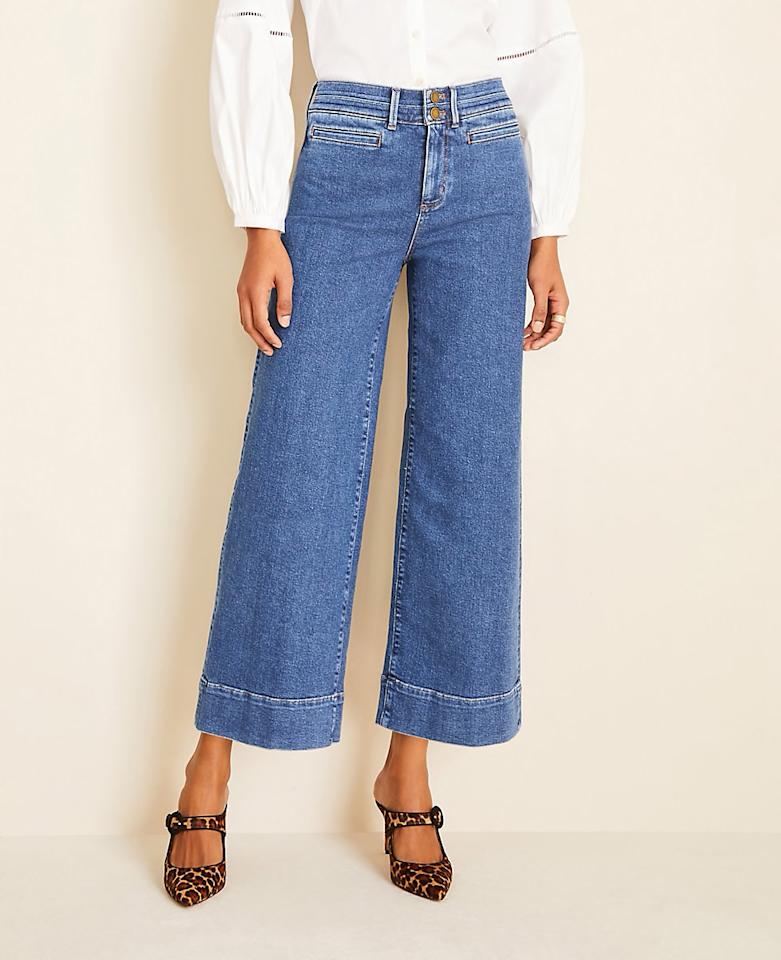 "<p><strong>Buy It!</strong> Wide Leg Crop Jeans in Bright Indigo Wash, $98; <a href=""https://click.linksynergy.com/deeplink?id=93xLBvPhAeE&mid=42156&murl=https%3A%2F%2Fwww.anntaylor.com%2Fwide-leg-crop-jeans-in-bright-indigo-wash%2F530592%3FskuId%3D29141074%26amp%3BdefaultColor%3D7957%26amp%3Bcatid%3Dcat860012%26amp%3BselectedColor%3D7957&u1=PEO%2CTheBiggestSpringDenimTrends%2Csball1271%2CSty%2CGal%2C7741115%2C202003%2CI"" target=""_blank"" rel=""nofollow"">anntaylor.com</a></p>"