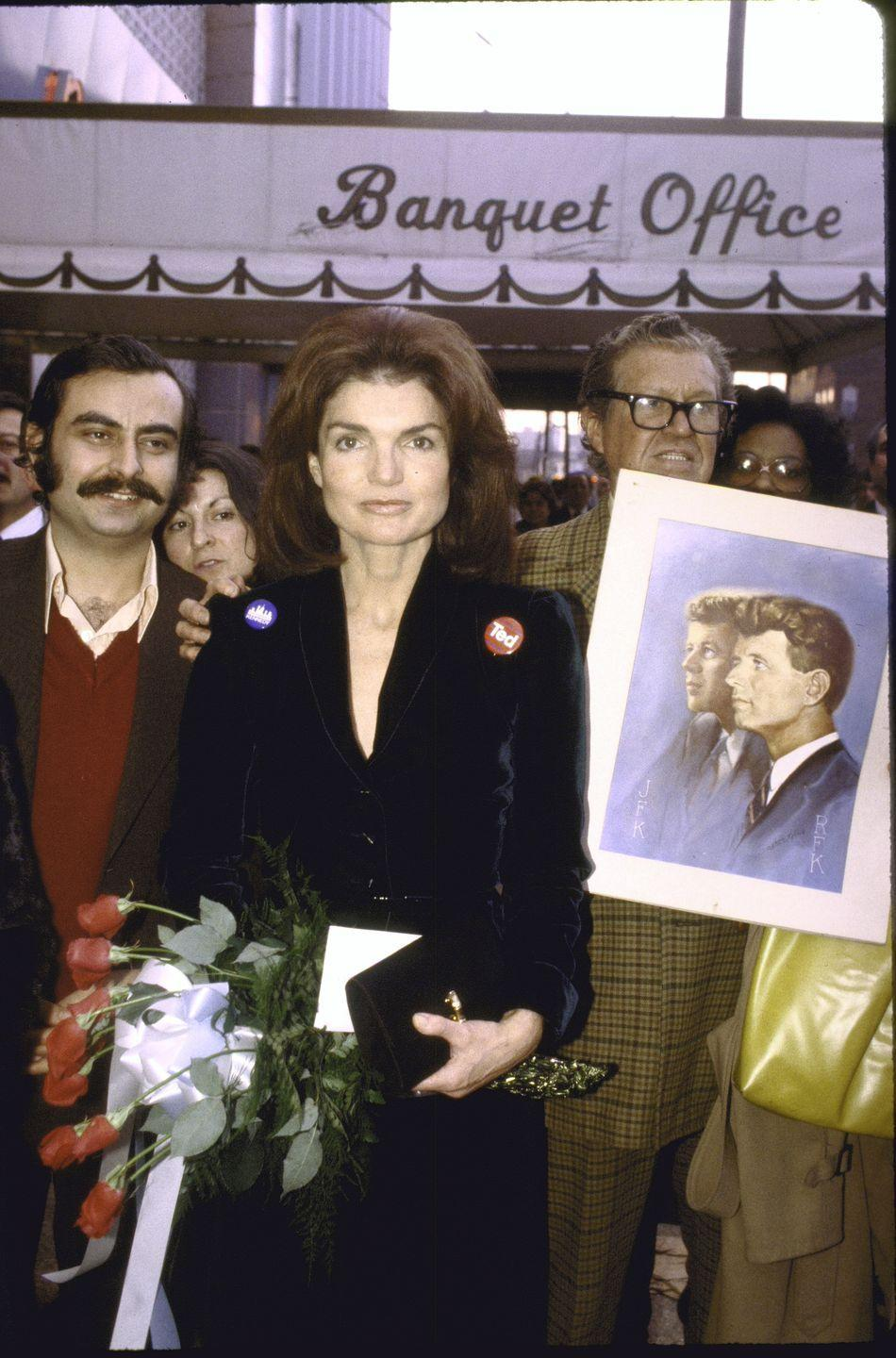 <p>Jackie leaves a fundraiser for her brother-in-law Ted Kennedy's presidential campaign. </p>