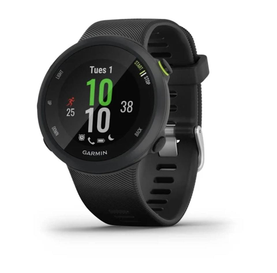 <p>Garmin is considered to be one of the best running watches, and the <span>Garmin Forerunner 45</span> ($200) is perfect for those looking for a device that will provide them with in-depth details about their runs, count their steps, and track features such as heart rate zones, calories burned, and other health markers.</p>