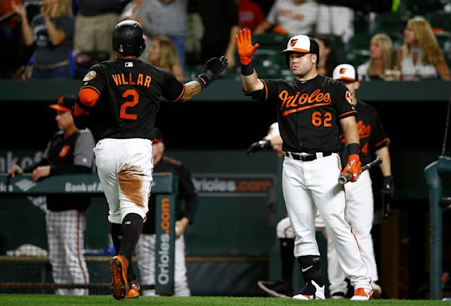 Baltimore Orioles' DJ Stewart, right, high-fives teammate Jonathan Villar after Villar scored on Adam Jones' double in the first inning of a baseball game against the Houston Astros, Friday, Sept. 28, 2018, in Baltimore. (AP Photo/Patrick Semansky)