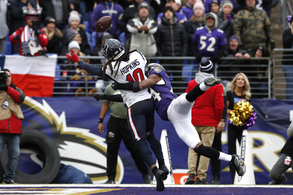 BALTIMORE, MARYLAND - NOVEMBER 17: Marlon Humphrey #44 of the Baltimore Ravens breaks up a pass intended for DeAndre Hopkins #10 of the Houston Texans during the first half in the game at M&T Bank Stadium on November 17, 2019 in Baltimore, Maryland. (Photo by Todd Olszewski/Getty Images)
