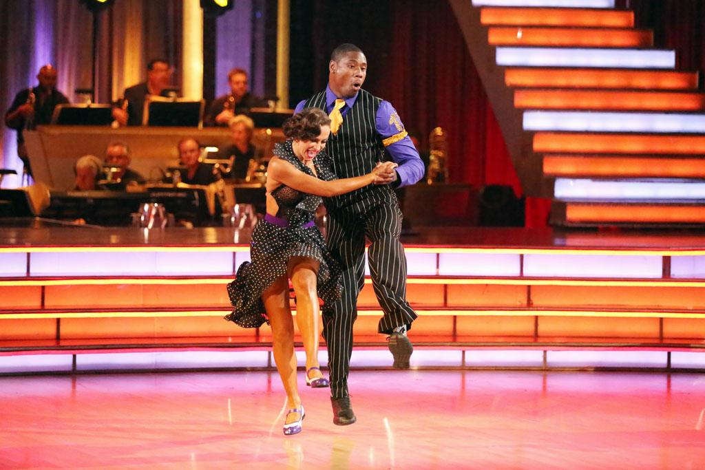 "Karina Smirnoff and Jacoby Jones perform on ""Dancing With the Stars."""