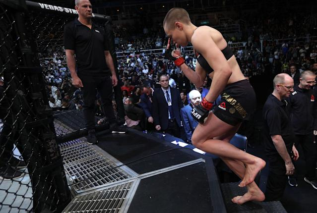 Rose Namajunas slowly made her way into the cage on Saturday. (Getty Images)