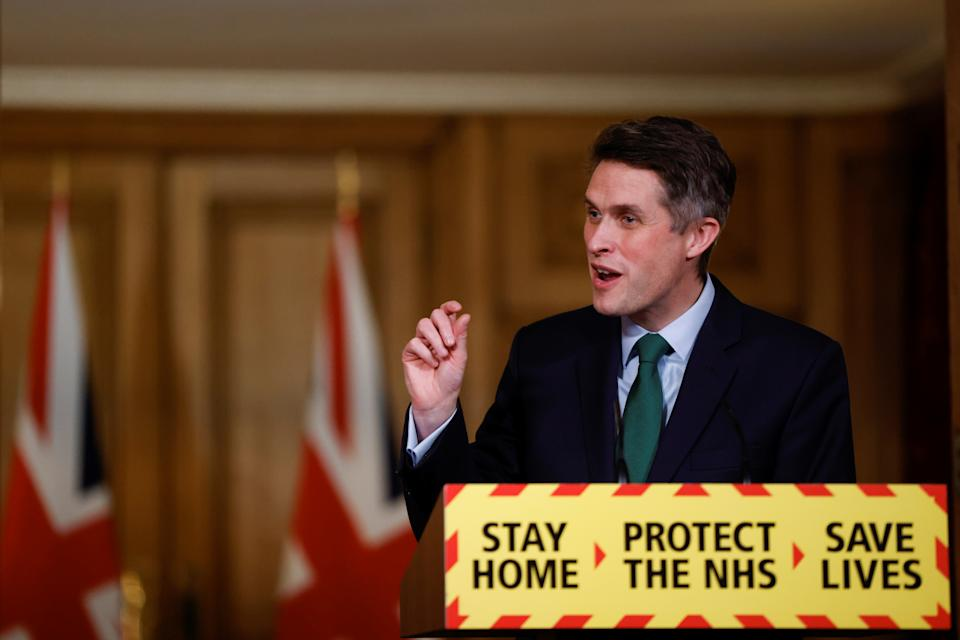 LONDON, ENGLAND - FEBRUARY 24: Education Secretary Gavin Williamson holds a virtual news conference at 10 Downing Street on February 24, 2021 in London, England. (Photo by John Sibley - WPA Pool/Getty Images)