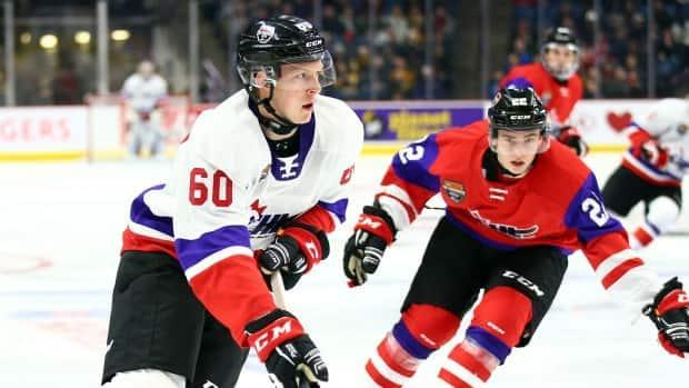 Luke Prokop, left, is shown playing in the Canadian Hockey League Prospects game on Jan. 16, 2020, in Hamilton.   (Vaughn Ridley/Getty Images - image credit)