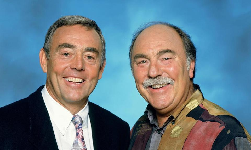 Ian St John, left, and Jimmy Greaves in ITV's Saint and Greavsie. St John carried the double act, Ernie Wise to Greavsie's Eric Morecambe, supplying the straight, factual information while the naturally witty Greaves bounced out the punchlines.