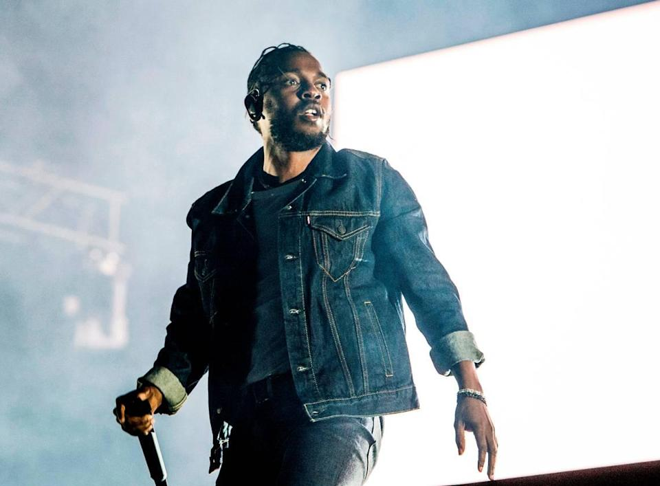 """FILE - In this July 7, 2017, file photo, Kendrick Lamar performs during the Festival d'ete de Quebec in Quebec City, Canada. On Monday, April 16, 2018, Lamar won the Pulitzer Prize for music for his album """"Damn."""" (Photo by Amy Harris/Invision/AP, File)"""