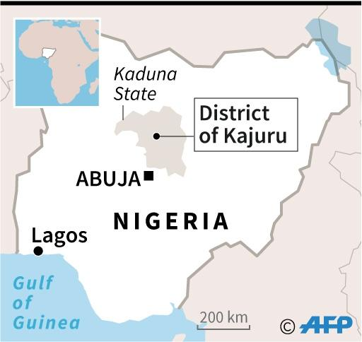 Map locating Kajuru district in northern Nigeria (AFP Photo/Jonathan WALTER)