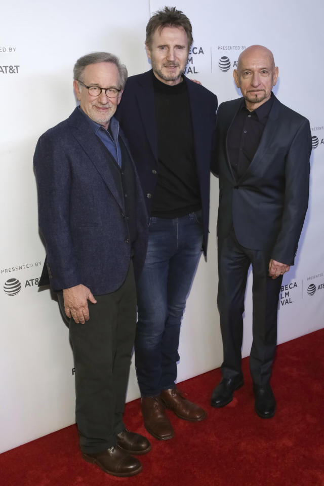 Steven Spielberg, Liam Neeson, and Ben Kingsley at the <em>Schindler's List</em> 25th anniversary screening during the Tribeca Film Festival on April 26 in New York City. (Photo: Brent N. Clarke/Invision/AP)