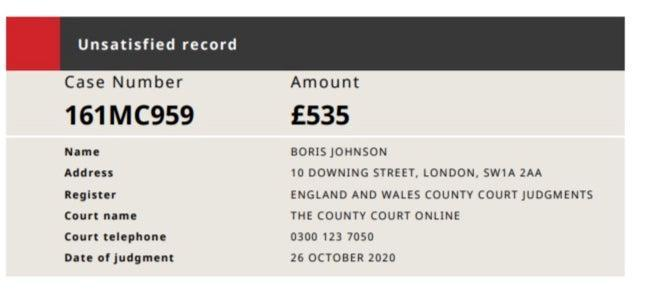 <p>Screengrab of county court judgment against Boris Johnson</p> (County Courts of England and Wales)