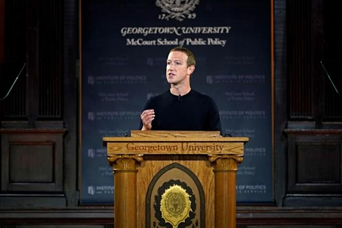 WASHINGTON, DC - OCTOBER 17: Facebook CEO Mark Zuckerberg leads a conversation on free expression at Georgetown University on October 17, 2019 in Washington, DC. The event was hosted by the universitys McCourt School of Public Policy and its Institute of Politics and Public Service (GU Politics). (Photo by Riccardo Savi/Getty Images for Facebook) ** OUTS - ELSENT, FPG, CM - OUTS * NM, PH, VA if sourced by CT, LA or MoD **