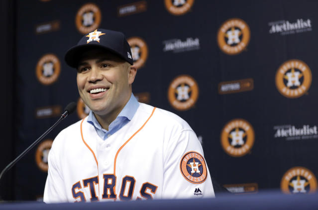 Carlos Beltran just retired after winning a World Series with the Astros, but he's under consideration for the Yankees managerial opening. (AP Photo)