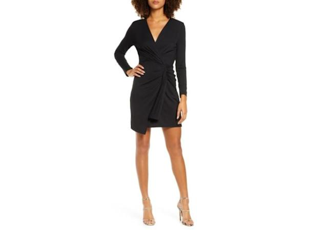 Long Sleeve Ruched Faux Wrap Minidress. (Photo: Nordstrom)