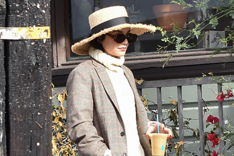 c0e4463bb0b Vanessa Hudgens Is Hardly Recognizable on Coffee Date With Austin Butler