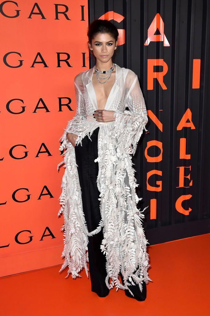 <p>The actor wore a sheer shirt gown by Rahul Mishra to the event.</p>