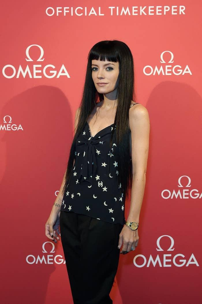 Lily Allen is photographed at an event celebrating the opening of the Olympic Games in 2021