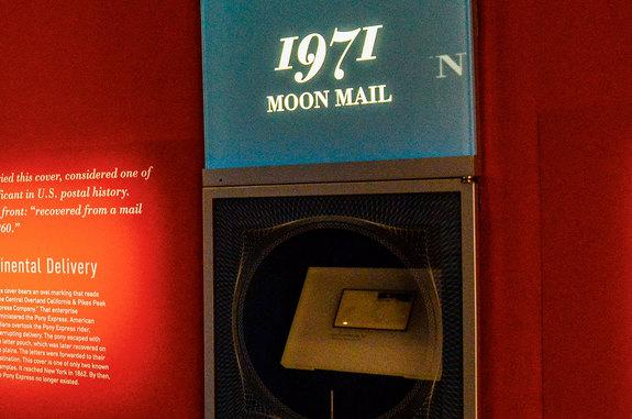 """The first envelope postmarked on the moon, the Apollo 15 """"Moon Mail,"""" as seen in the """"Gems of American Philately"""" exhibit in the new William H. Gross Stamp Gallery in Washington, D.C."""
