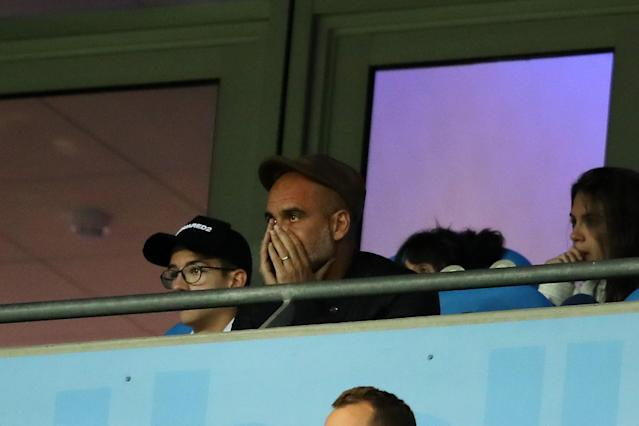 Pep Guardiola was not impressed as City conceded the first goal.