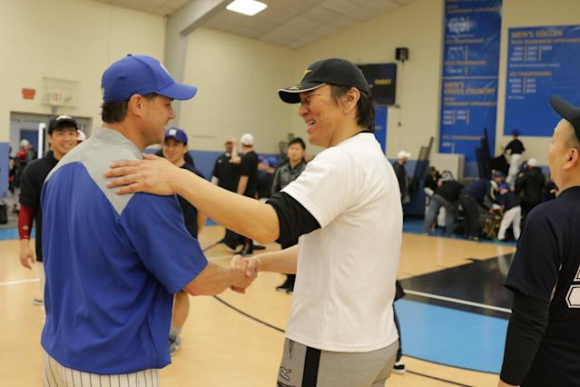 Former AL East rival Hideki Matsui stopped by one of Catalanotto's practices. (Courtesy of Adam Rubin)