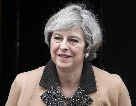 Britain's Prime Minister Theresa May leaves 10 Downing Street, London