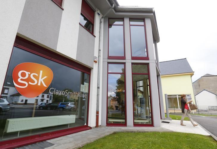 The GlaxoSmithKline logo is seen at the entrance of a building in Luxembourg