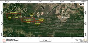 Jacobina Location Map Showing Main Target Areas and Mining Sectors. Star Symbol Indicates Location of Mine Plant Facility. Dashed Lines Indicate Locations of Respective Long Sections Shown in Figures 2, 3 and 5 Below.