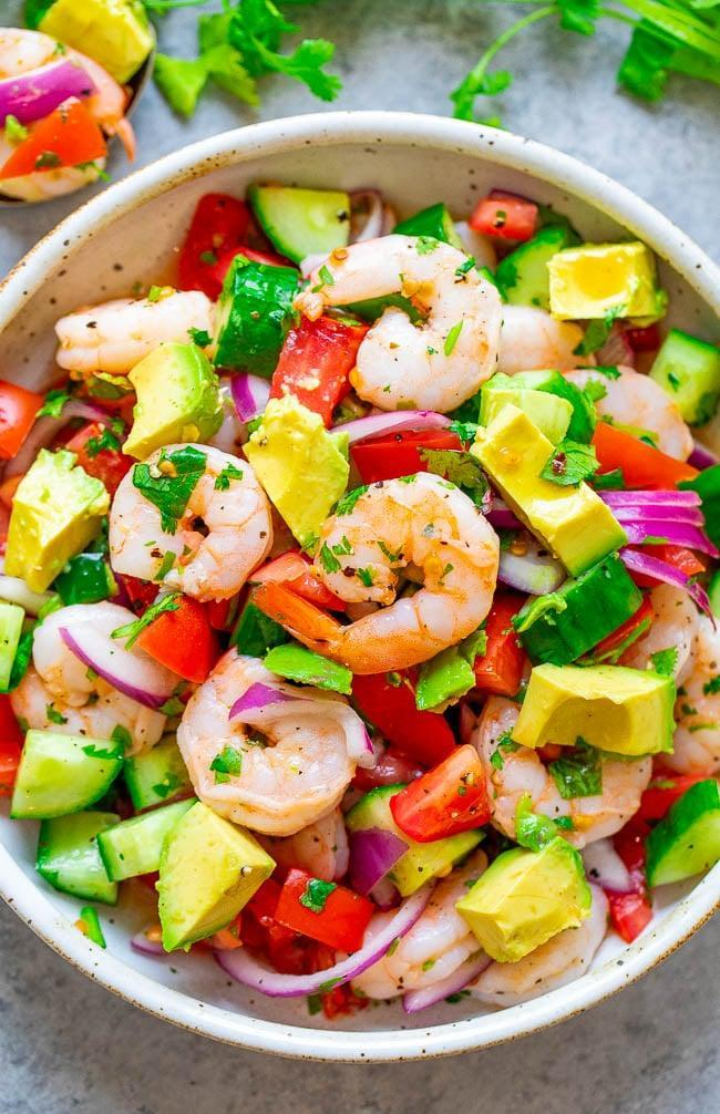 """<p>If ceviche is your go-to seafood order, try making this <a href=""""http://www.averiecooks.com/shrimp-ceviche/"""" class=""""link rapid-noclick-resp"""" rel=""""nofollow noopener"""" target=""""_blank"""" data-ylk=""""slk:naturally low-carb meal"""">naturally low-carb meal</a> in the comfort of your own home. Simply adjust the amount of jalapeño to make it more or less spicy.</p>"""
