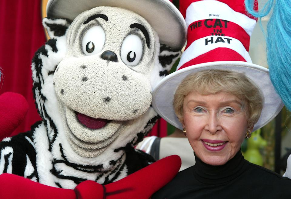 "The Cat in the Hat and Audrey Geisel during Theodor ""Dr. Seuss"" Geisel's posthumous Hollywood Walk of Fame ceremony. (Photo by Chris Polk/FilmMagic)"