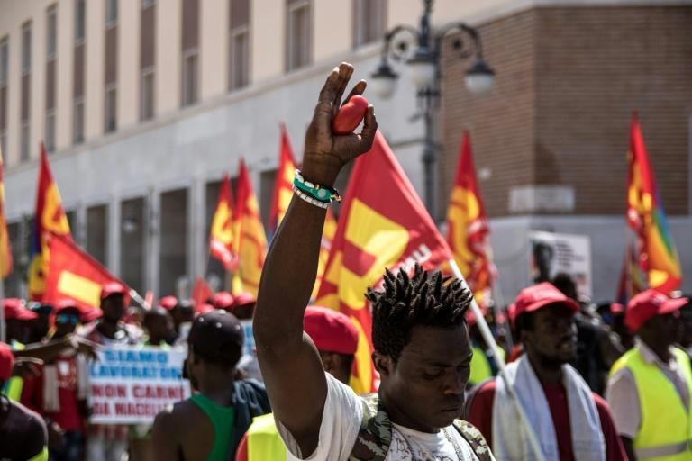 Migrant farm workers in Italy protested over the exploitation they offer suffer in 2018 after 16 died in two work-related road accidents