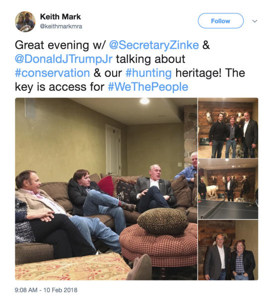 "This screenshot of Twitter post from the page of Keith Mark shows photos of Interior Secretary Ryan Zinke meeting with Donald Trump Jr. and Keith Mark. A new U.S. advisory board created to help rewrite federal rules for importing the heads and hides of African elephants, lions and rhinos is stacked with trophy hunters, including some members with direct ties to President Donald Trump and his family. Donald Trump Jr. is friendly with another member of the advisory council _ hunting guide and TV show personality Keith Mark. He helped organize Sportsmen for Trump during the 2016 presidential campaign and recently posted photos on his Twitter page of himself with Trump Jr. and Zinke, standing before an array of mounted big-horn sheep and a bear. ""I see the world from a hunting lifestyle,"" Mark told the AP, adding that he has no preconceived agenda for his service on the conservation council. ""It's the most pure form of hands on conservation that there is. I will approach all decision-making with my background."" (Twitter via AP)"