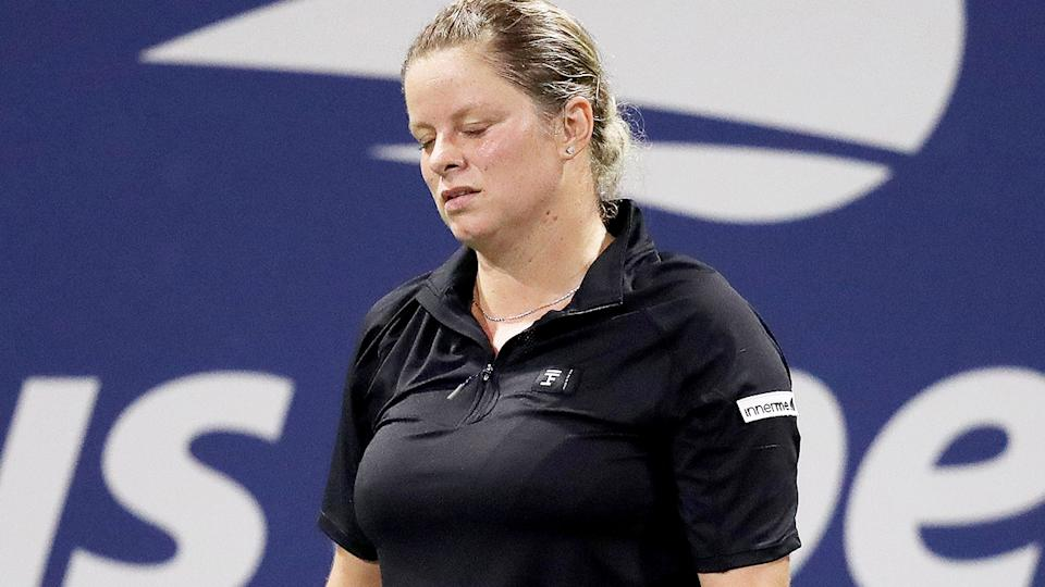 Kim Clijsters, pictured here in action against Ekaterina Alexandrova at the 2020 US Open.