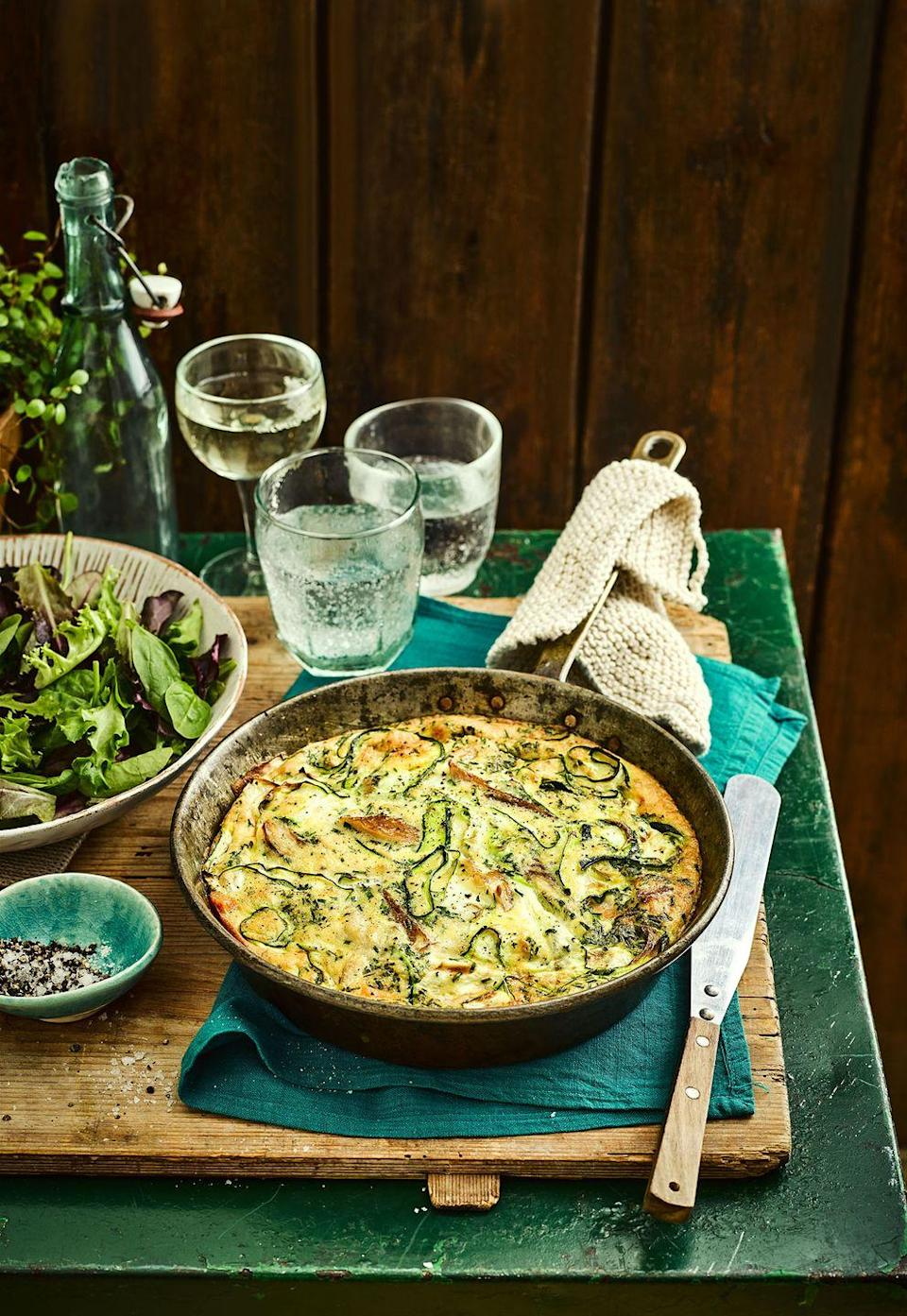 """<p>Our take on the classic Spanish omelette. The sweetness of the potato and smokiness of the mackerel make for a great speedy supper.</p><p><strong>Recipe: <a href=""""https://www.goodhousekeeping.com/uk/food/recipes/a24661249/mackerel-frittata/"""" rel=""""nofollow noopener"""" target=""""_blank"""" data-ylk=""""slk:Smoked Mackerel and Sweet Potato Frittata"""" class=""""link rapid-noclick-resp"""">Smoked Mackerel and Sweet Potato Frittata</a></strong></p>"""