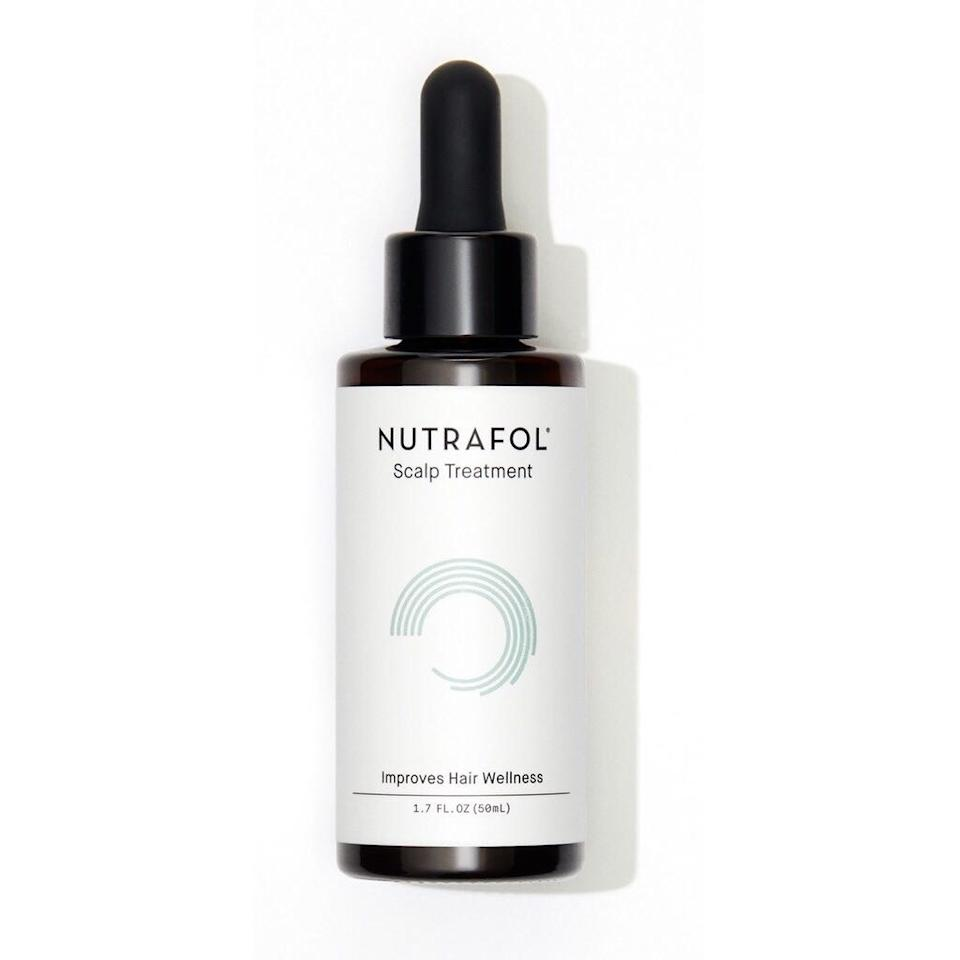 <p>Nutrafol touts its new topical Scalp Treatment as an alternative to thinning-hair treatments packed with synthetic chemicals — a natural way to promote more robust hair and, as the name might suggest, a generally healthier scalp. It relies on botanical extracts like that of pea sprout, ginseng, sea buckthorn, turmeric, and moringa to set up an ideal environment for happier hair. And the best part? This leave-in treatment is undetectable once applied.</p> <p><strong>$30</strong> (Available in October)</p>