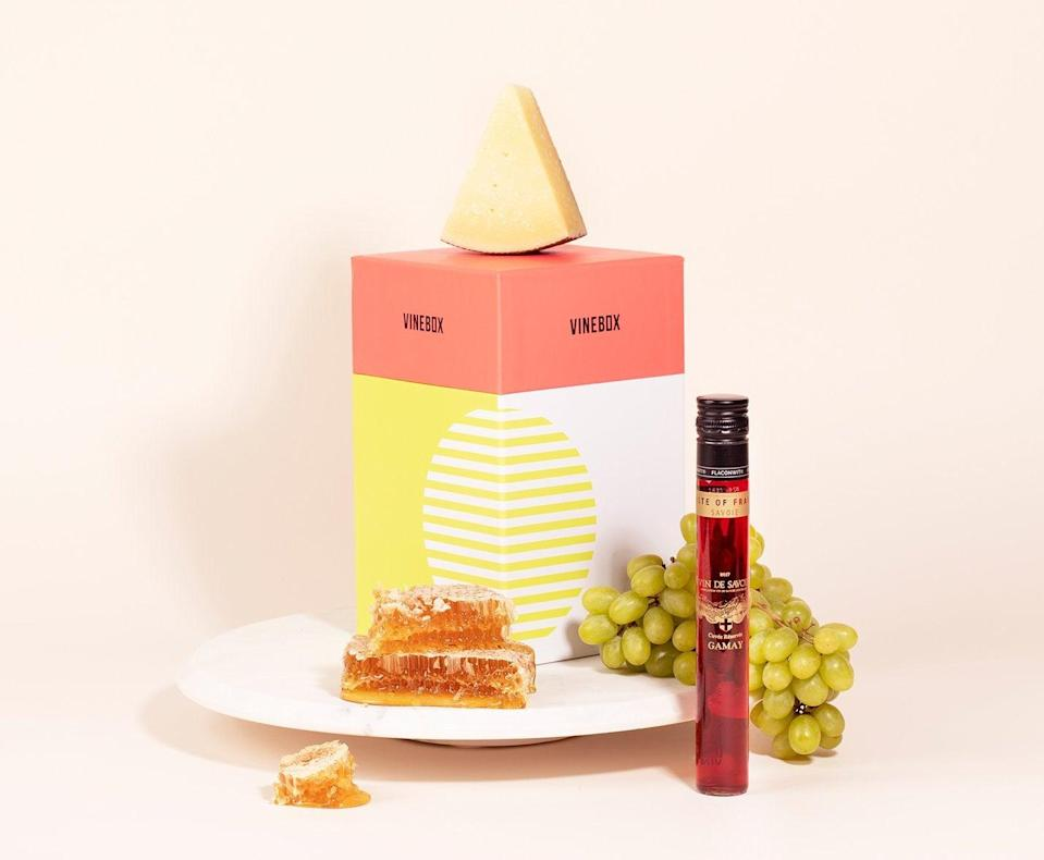"""<h2>VineBox Wine & Cheese Pairing Box</h2> <br>For budding somm-moms, this chic little box is filled with nine chic little vials of individual wine tastings — each selected to be paired with nine suggested types of cheese (which are not included).<br><br><em>Shop <strong><a href=""""https://www.getvinebox.com/pages/give-a-gift"""" rel=""""nofollow noopener"""" target=""""_blank"""" data-ylk=""""slk:VineBox"""" class=""""link rapid-noclick-resp"""">VineBox</a></strong></em><br><br><strong>Vinebox</strong> Wine & Cheese Box, $, available at <a href=""""https://go.skimresources.com/?id=30283X879131&url=https%3A%2F%2Fwww.getvinebox.com%2Fproducts%2Fwine-and-cheese"""" rel=""""nofollow noopener"""" target=""""_blank"""" data-ylk=""""slk:Vinebox"""" class=""""link rapid-noclick-resp"""">Vinebox</a><br><br><br>"""