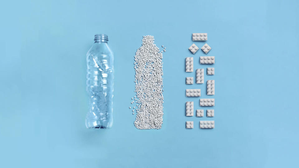 LEGO's new prototype bricks are made from recycled plastic bottles.