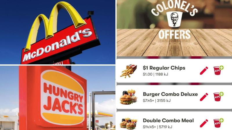 A McDonald's sign, screenshot of Colonel's Offers in the KFC Australia app and a Hungry Jack's sign.