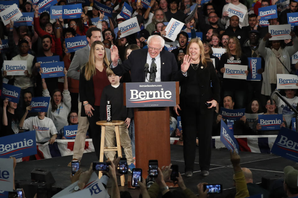 Democratic presidential candidate Sen. Bernie Sanders, I-Vt., with his wife Jane O'Meara Sanders, speaks to supporters at a caucus night campaign rally in Des Moines, Iowa, Monday, Feb. 3, 2020. (Pablo Martinez Monsivais/AP)