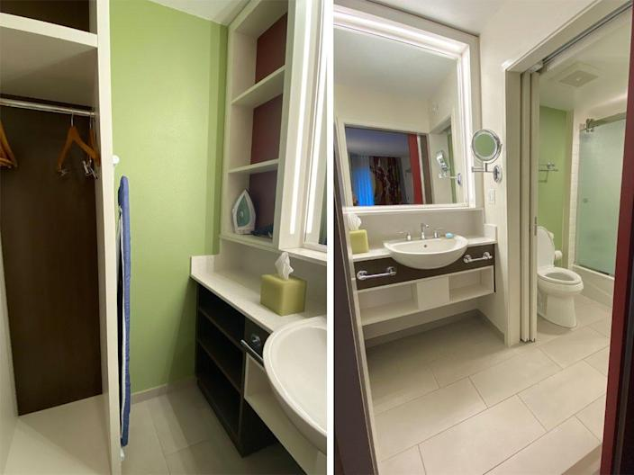 A look inside the bathrooms at Disney World's All-Star Movie Resort hotel rooms.