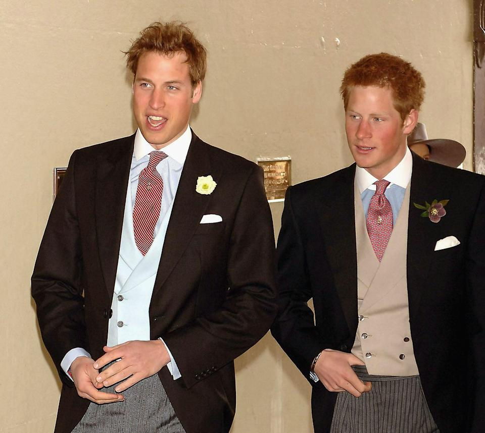 WINDSOR, ENGLAND - APRIL 9:  (NO UK SALES FOR 28 DAYS) Prince William and Prince Harry arrive for the Civil Ceremony for the marriage between HRH Prince Charles & Mrs Camilla Parker Bowles, at The Guildhall, Windsor on April 9, 2005 in Berkshire, England. (Photo by ROTA/Anwar Hussein Collection/Getty Images)