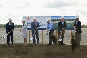 First Solar, Inc. today broke ground on its third manufacturing facility in Ohio. Pictured (L-R) are Tim Alter, CEO, Rudolph Libbe, Inc., US Representative Marcy Kaptur (OH-09), the Lieutenant Governor of Ohio, Jon Husted, First Solar CEO, Mark Widmar, US Secretary of Labor Marty Walsh, and US Representative Bob Latta (OH-05).