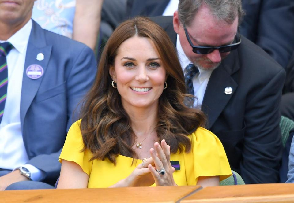 <p>Here's another example of Middleton's casual blowout: The breezy, bouncy curls were the perfect choice for a day at Wimbledon in 2018. </p>