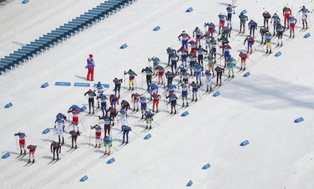 Cross-Country Skiing - Pyeongchang 2018 Winter Olympics - Men's 50km Mass Start Classic - Alpensia Cross-Country Skiing Centre - Pyeongchang, South Korea - February 24, 2018 - Competitors at the start. REUTERS/Carlos Barria