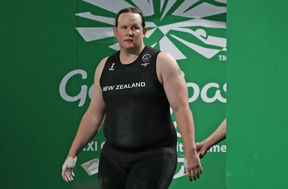 GOLD COAST, AUSTRALIA - APRIL 09:  Laurel Hubbard of New Zealand walks on stage during the Women's +90kg Final during the Weightlifting on day five of the Gold Coast 2018 Commonwealth Games at Carrara Sports and Leisure Centre on April 9, 2018 on the Gold Coast, Australia.  (Photo by Scott Barbour/Getty Images)