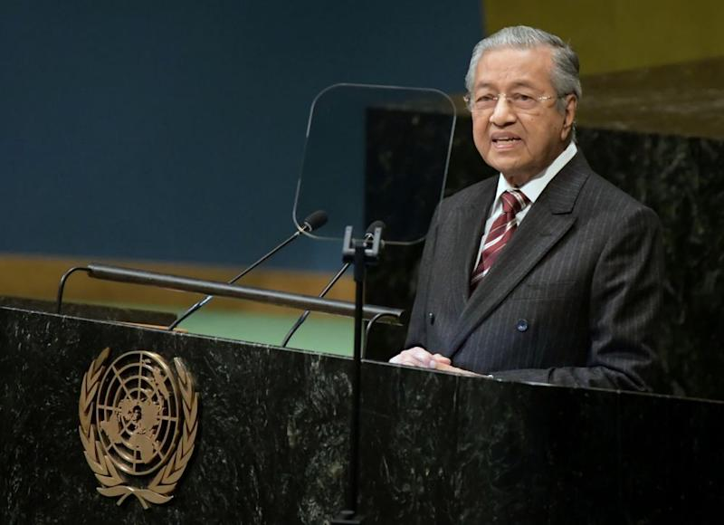 Tun Dr Mahathir Mohamad addresses the 73rd United Nations General Assembly in New York September 28, 2018. — Bernama pic