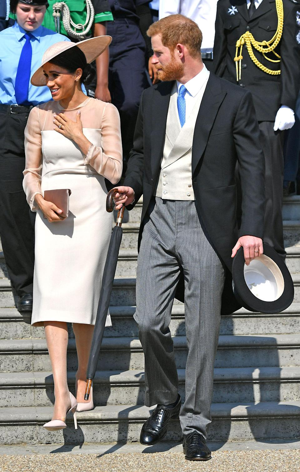 The newlyweds take on their first public outing as the Duke and Duchess of Sussex. [Photo: Getty]