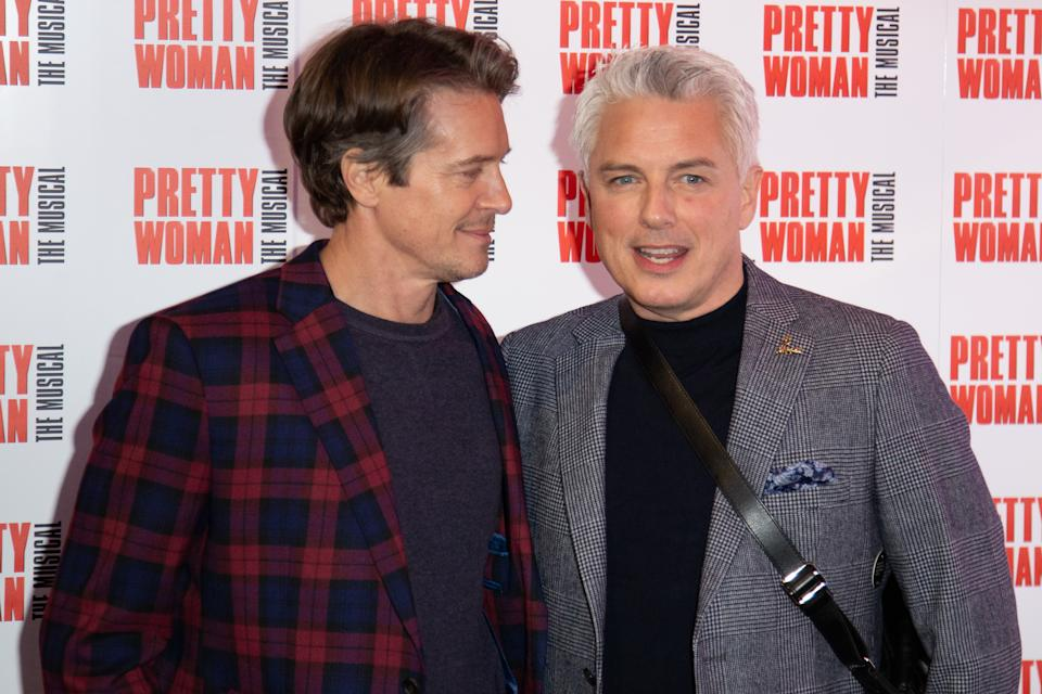 Scott Gill and John Barrowman attends the press night performance of ''Pretty Woman'' at the Piccadilly Theatre on March 2, 2020 in London, England. (Photo by Robin Pope/NurPhoto via Getty Images)